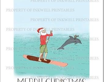 Paddleboarding Santa Print DIGITAL DOWNLOAD
