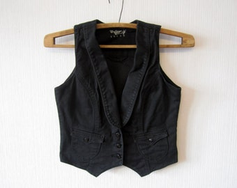 Black Denim Waistcoat Women Romantic Fitted Medium Size Vest 175