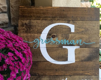 Monogram Wood Sign, Rustic Wood Sign, Pallet Wood Sign, Last Name Wood Picture, Wood Sign, Rustic Monogram Wood Sign, Personalized Wood Sign