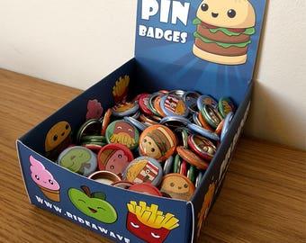 Cute Kawaii Cartoon Food Pin Badges, Pin Badges, Kawaii Pin Badges, Cute Pins, Kawaii Pins, Cartoon Food, Cute Pin Badges