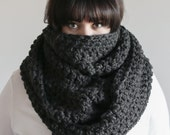 Chunky Infinity Scarf Oversized Cowl Hood Warmer | THE BARROW in Charcoal