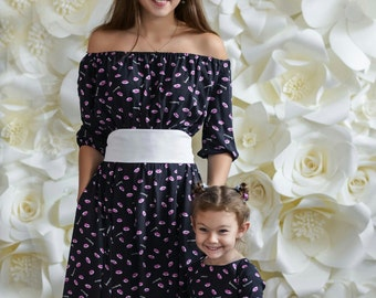 Cotton Matching Mother daughter dresses, Floor length Mommy and me outfit Dress for mother and daughter Family look