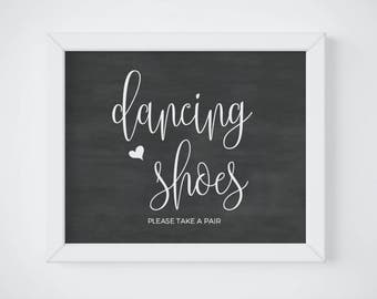 Chalkboard Dancing Shoes Sign, Take A Pair, Wedding Flip Flops Basket, Wedding Flip Flops Sign Printable, Wedding Sign Template Download PDF