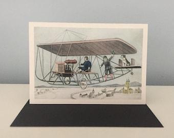Vintage Airplane Card, Bon Voyage Card, Greeting Card, Birthday Card, Travel Card
