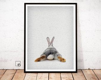 Rabbit Print, Peekaboo Rabbit, Rabbit Wall Art, Rabbit Poster, Bunny Poster, Rabbit Download, Rabbit Nursery Decor, Rabbit printable Bunny