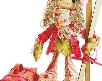 Doll Skier Girl Sewing Kit Textile carcass doll Christmas Gift Interior Doll  Nova Sloboda