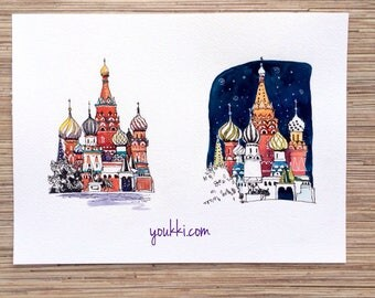 Moscow. Red Square. Original watercolor painting