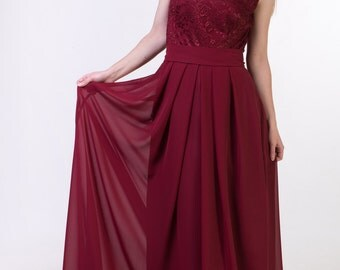 Red wine bridesmaid dress Burgundy red bridesmaid dress Red wine lace dress Long wine dress Lace burgundy red dress long Prom dress red wine