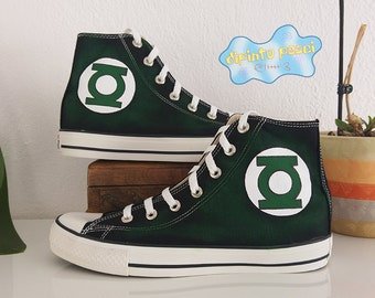 Green Lantern Hand Painted Custom Shoes