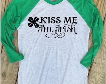 Kiss Me I'm Irish - Green St. Patrick's Day Raglan Tee
