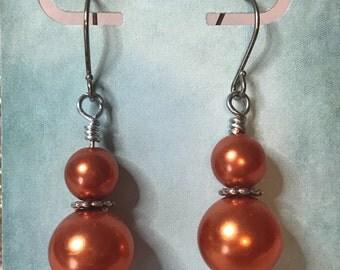 Orange glass pearl earrings