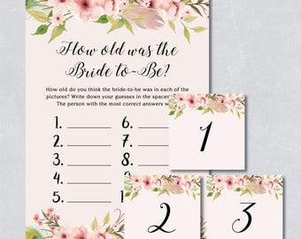 How old was the bride to be, floral bridal shower game, bohemian watercolor, pastel cream color, printable game, INSTANT DOWNLOAD