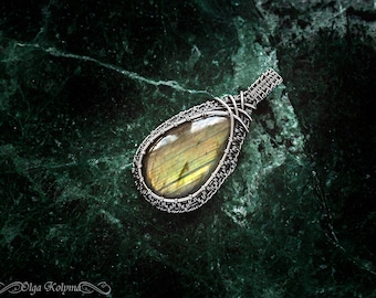 Silver pendant Wire wrapped pendant Labradorite pendant Silver necklace Wire wrap pendant Gemstone necklace gift for her