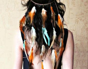 Feather headband, hairdress, boho style, hippie, boho handband