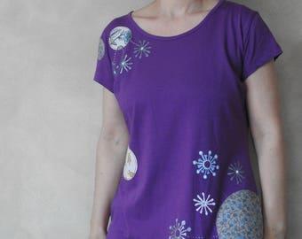 Purple Shirt - Hand Painted T Shirt - Handpainted Shirt - Womens Shirts - Apllique - T Shirts for Women  - T Shirt Women - Flower Tshirts