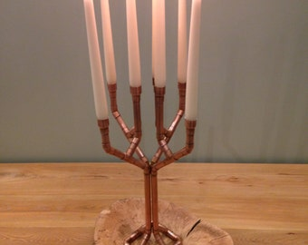 Copper Pipe Candelabra / candle stick holder with 8 arms