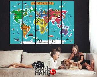 Nursery world map, Kids room decor,  Animal World, Kids world map, Kids World Map, Nursery wall art , Kids canvas, Nursery Decoration