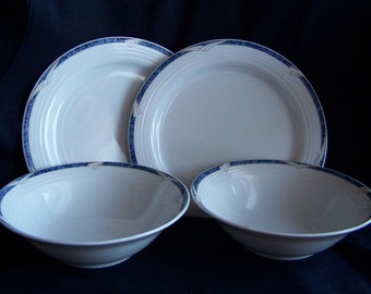 Noritake Arctic Blue Pattern 2 Salad Plates and 2 cereal bowls