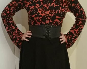 Pagan Orange and Black Bright Bell Sleeved Top