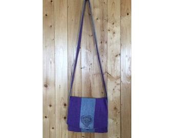 Purple and pale blue handbag