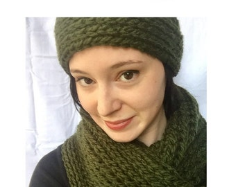Infinity Scarf and Matching Headband--Crochet Scarf and Headband Set-- Women's Scarf and Headband Set