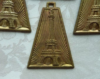 Lg Vintage French Art Deco Eiffel Tower Stamping(1pc)Amazing Vintage French Charm/Vintage French Charm/Vintage French pendant/Brass Stamping
