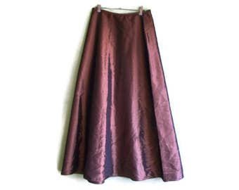 Vintage maxi skirt, Vintage taffeta  skirt, Shiny skirt, fancy maxi skirt, brown skirt, bronze skirt, posh skirt, Size L