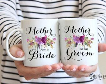 Mother of the groom mother of the bride coffee mug set, wedding gift, mom of the bride, mom of the groom, coffee wedding mugs, m-103-4