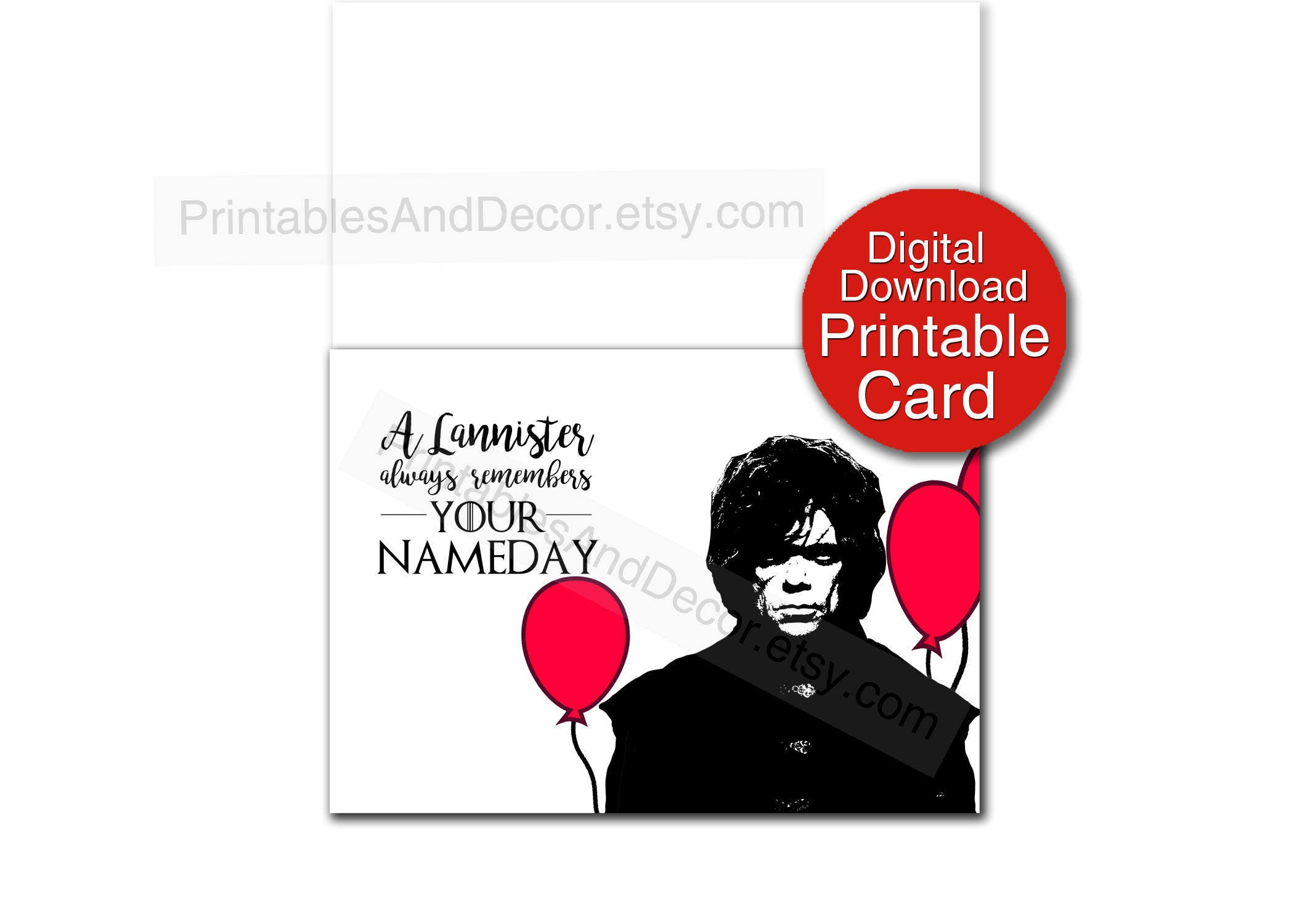 Printable Game of Thrones Birthday Card Digital 5x7 Folded