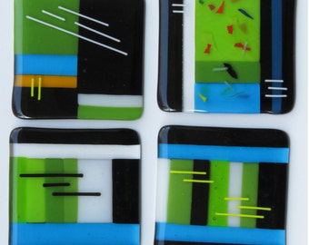 "Fused Art Glass Coasters 4"" x 4"" - Set of 4"