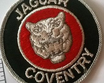 Free US Shipping / 1970s Vintage Jaguar Coventry Patch Classic Cat logo British Automotive New Old Stock partially embroidered  Iron on