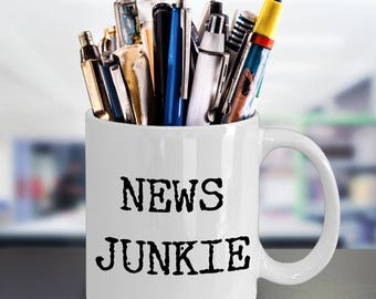 Gifts for Journalists - New Junkie Coffee Mug - Gifts for Journalists - Editor Mug - Reporter Mug - Politics - Funny Mugs - Sarcastic Mugs
