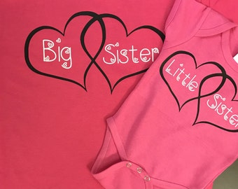 Set of two Sisters shirts, Valentine's Day set, Valentine's day shirts, Big sister, Little sister, Youth toddler baby shirt, Shirt Set