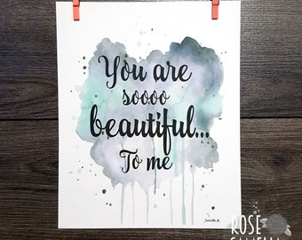 5 x 7 custom text on background watercolor, color choices poster