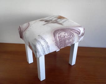 SALE - Upholstered Foot Rest. Handmade footstool. Child Seat. Pet bed. Small Upholstered Bench. Ready to ship.