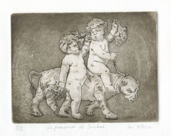"Engraving ""The walk of Bacchus"" Metamorphoses, Ovid, Illustration, etching, Printmaking, black and white dry point, handmade print."