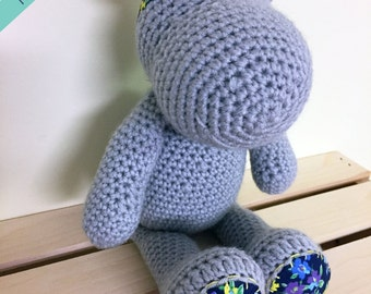 Hippo Stuffed Animal | Hippo Plush | Stuffed Hippo | Crochet | Hippopotamus | Gray Hippo | Girl Birthday Gift | Decor