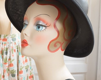 Black Oversized Straw Deep Cloche with Grosgrain Ribbon |  Vintage 1960s 60s Mod Mid Century Modern Hat | Mod Fashion |  Mr John Classic