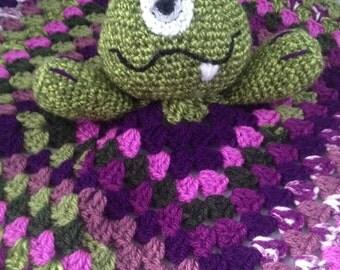 Cute Crocheted Monster Baby Comforter