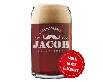 Beer Can Glass, Personalized Groomsmen Gift, Beer Mugs, Personalized Beer Can Glasses, Etched Beer Glasses, Groomsmen Beer Glasses