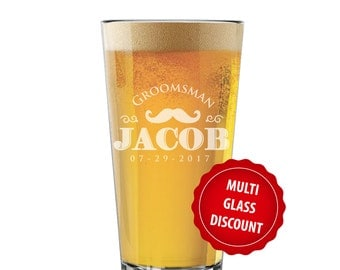 Pint Glass, Pilsner Glass, Personalized Groomsmen Gift, Personalized Beer Glasses, Etched Beer Glasses, Groomsmen Beer Glasses, Pint Glasses