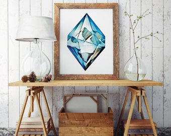 BLUE DIAMOND | Wall art | Archival print | giclee prints | poster art | print wall | prints for sale | artwork | art prints | motivational