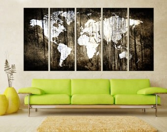Extra Large wall art canvas, Abstract world Map wall art print, Modern wall decoration, canvas art, fine art print for living room 7s71