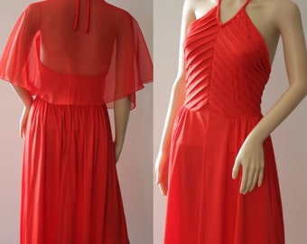 Romantic 70's Long Red Dress with See - Through Shawl