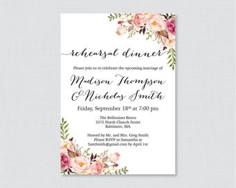 Printable OR Printed Floral Rehearsal Dinner Invitations - Rustic Pink Flower Rehearsal Dinner Invites, Wedding Rehearsal Invitations 0004