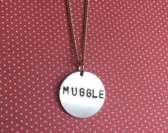 Muggle Harry Potter Hand-Stamped Metal Necklace