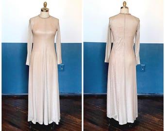 1960s Gold Glitter Sheer Figure Hugging Formal Evening Dress Gown Maxi / Sz M