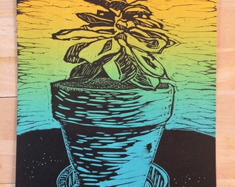 Succulent linocut print, hand pulled, rainbow roll