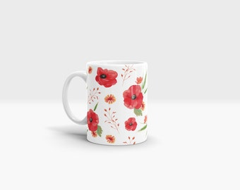 Poppies Mug. 11oz Ceramic Mug.