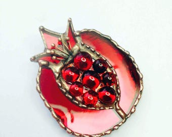 Brooch pomegranate   Mirror red stained glass